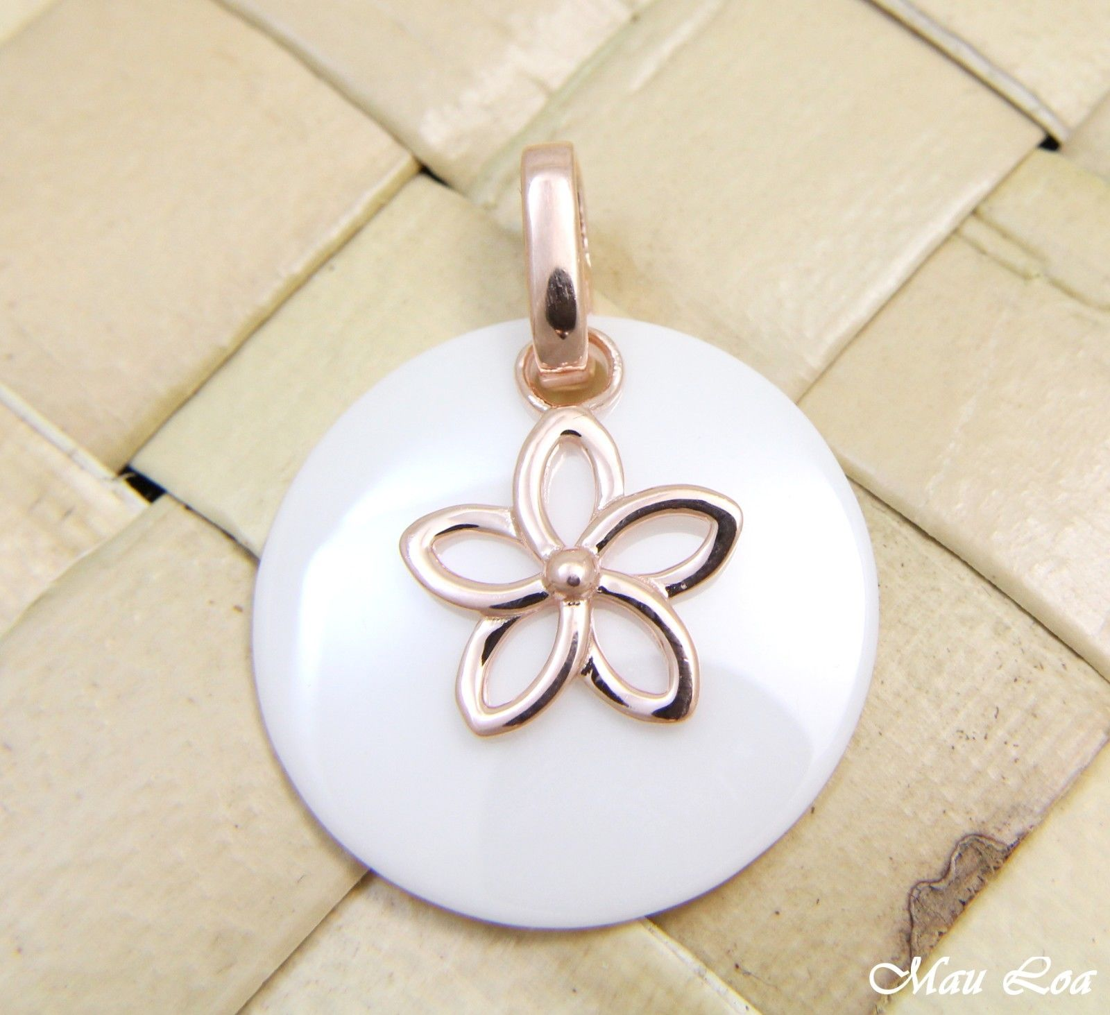 925 Silver Pink Rose Gold Hawaiian Plumeria Flower White Ceramic Circle Pendant