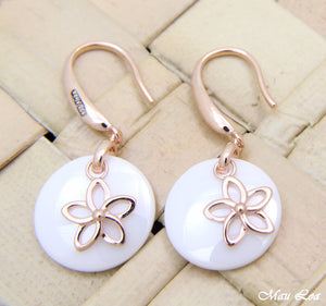 925 Silver Pink Rose Gold Hawaiian Plumeria Flower White Ceramic Circle Earrings