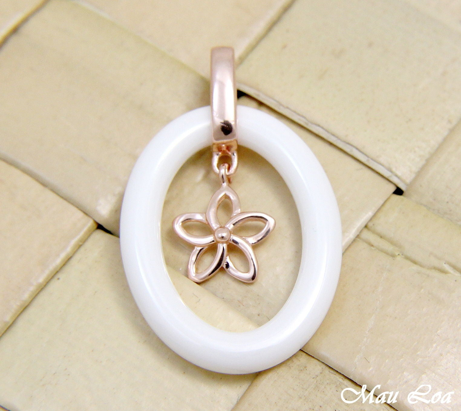 925 Silver Pink Rose Gold Hawaiian Plumeria Flower White Ceramic Oval Pendant