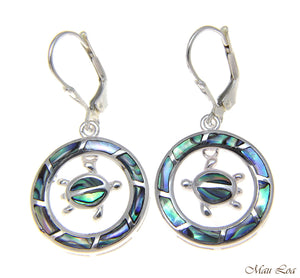 925 Silver Hawaiian Circle Honu Sea Turtle Abalone Shell Paua Leverback Earrings