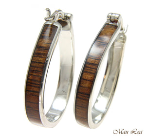 Koa Wood Hawaiian Rhodium Plated Brass 25x33mm Oval Hoop Snap Closure Earring
