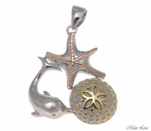 925 Silver Tricolor Hawaiian Sealife Dolphin Sand Dollar Starfish Pendant