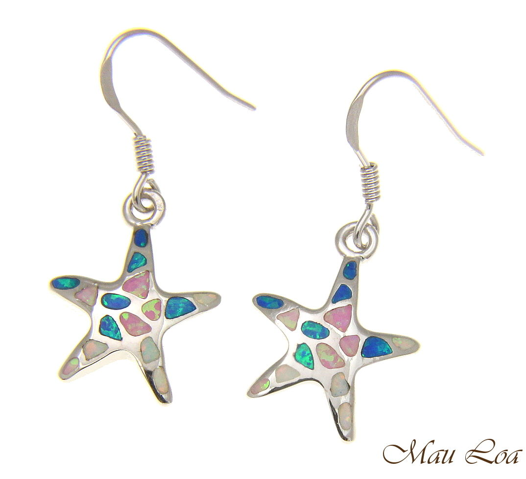 925 Silver Rhodium Hawaiian Starfish Sea Star Multi Opal Hook Wire Earrings