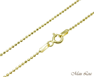 Sterling Silver 925 Yellow Gold Italian 1.2mm Ball Bead Chain Necklace 16 18 20""