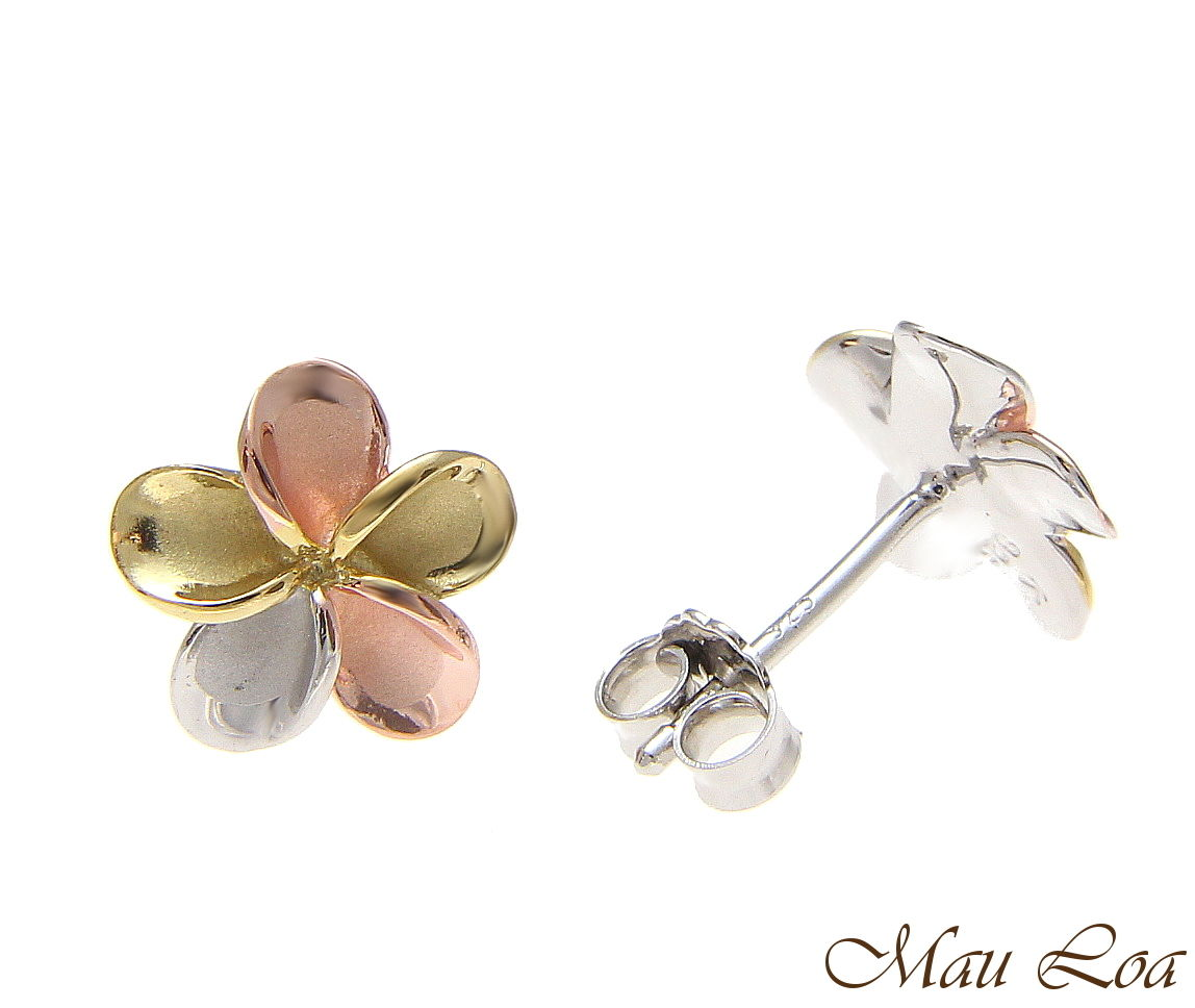 925 Silver Hawaiian Tricolor Plumeria Flower Post Earrings No CZ Stone 8-18mm