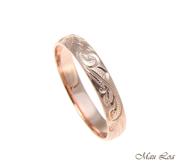 925 Sterling Silver Pink Rose Gold 4mm Hawaiian Scroll Hand Engraved Ring Band