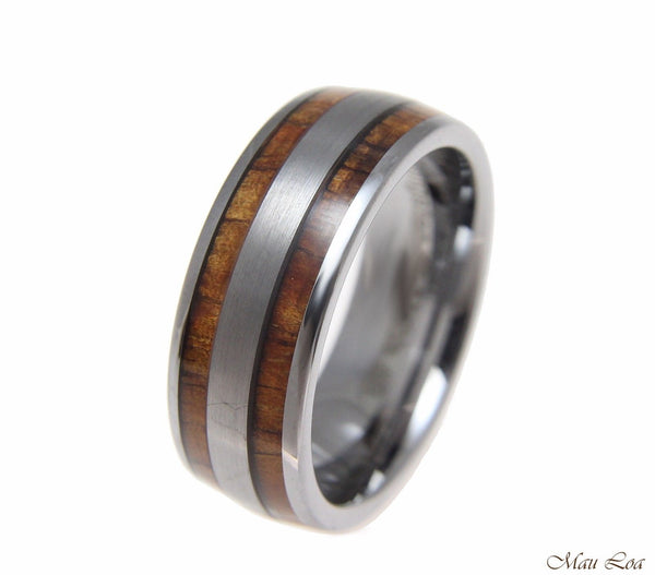 Tungsten 8mm Wedding Band Ring Hawaiian Koa Wood Inlay Comfort Fit Size 6-14
