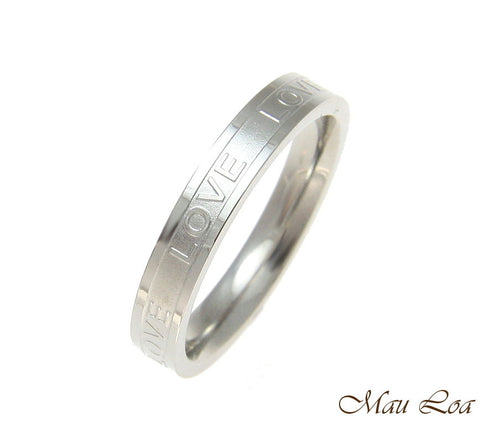 Stainless Steel Ring Wedding Band Love 3.5mm Silver Color Size 3-10