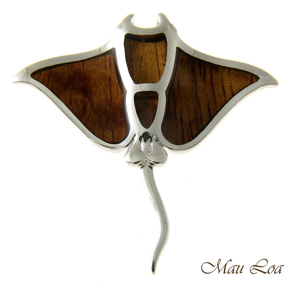 Koa Wood Hawaiian Manta Ray Fish Rhodium Silver Plated Brass Slide Pendant