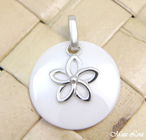 925 Silver Rhodium Hawaiian Plumeria Flower White Ceramic Circle Round Pendant