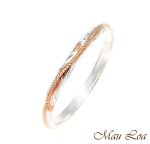 925 Silver 2 Tone Pink Rose Gold 2mm Hawaiian Scroll Hand Engraved Ring Band