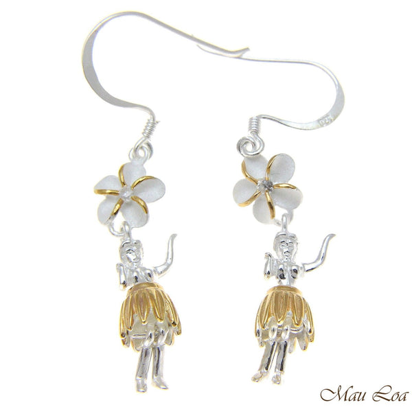 925 Silver Hawaiian Hula Girl 2 Tone Yellow Plumeria Flower Hook Wire Earrings