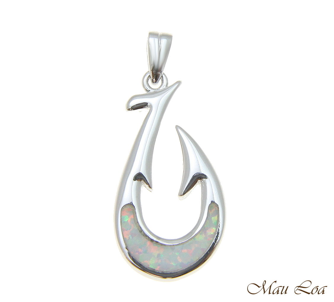925 Sterling Silver Rhodium Hawaiian White Opal Fish Hook Pendant Charm