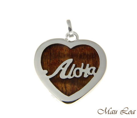 Koa Wood Hawaiian Scroll Aloha Heart Rhodium Plated Brass Reversible Pendant