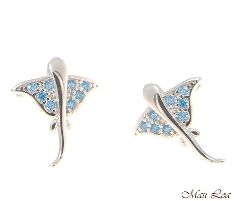 925 Sterling Silver Blue Topaz Hawaiian Stingray Post Stud Earrings