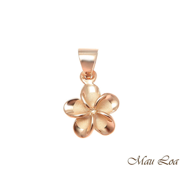 925 Silver Pink Rose Gold Hawaiian Plumeria Flower No CZ Stone Pendant 10-25mm