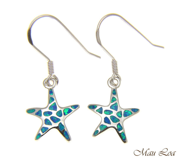 925 Silver Rhodium Hawaiian Starfish Sea Star Blue Opal Hook Wire Earrings