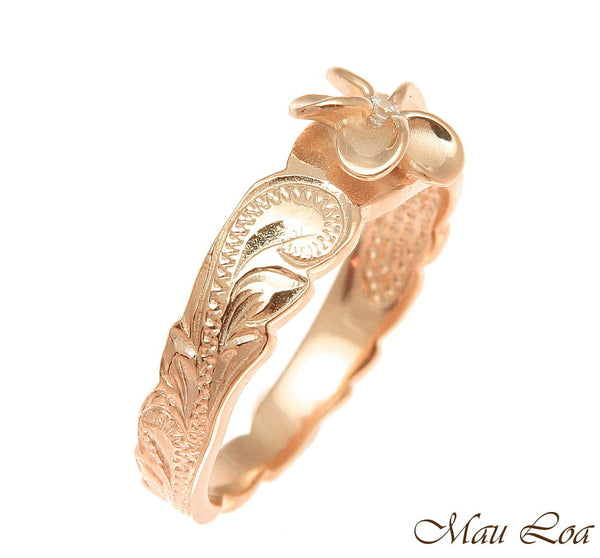 925 Sterling Silver Hawaiian Scroll Pink Rose Gold CZ Plumeria Flower Ring #1-10