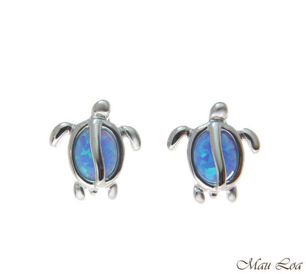 925 Sterling Silver Rhodium Hawaiian Honu Turtle Blue Opal Post Stud Earrings