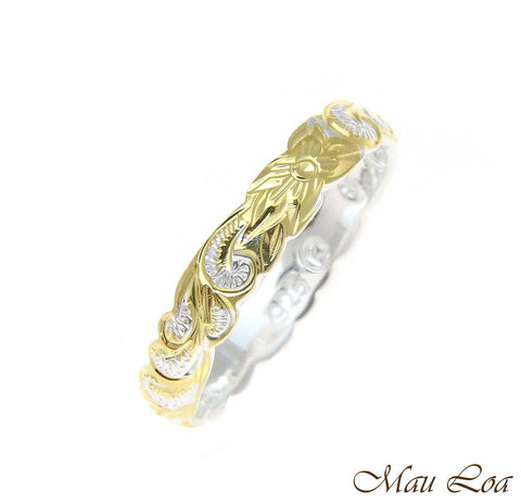 925 Silver 4mm 2Tone Yellow Gold Hawaiian Scroll Hand Engraved Cut Out Ring Band