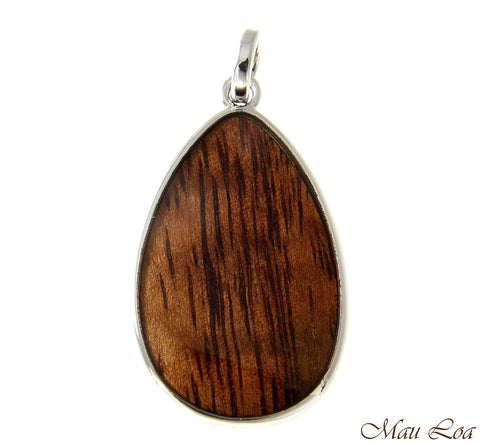 Koa Wood Hawaiian Tribal Teardrop Rhodium Silver Plated Brass Reversible Pendant