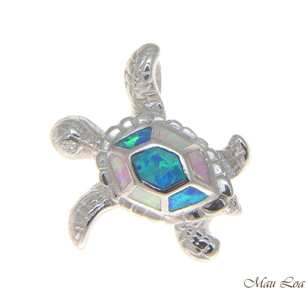 925 Sterling Silver Rhodium Hawaiian Honu Sea Turtle Multi Opal Slider Pendant