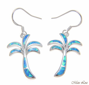 925 Sterling Silver Rhodium Hawaiian Palm Tree Blue Opal Hook Wire Earrings