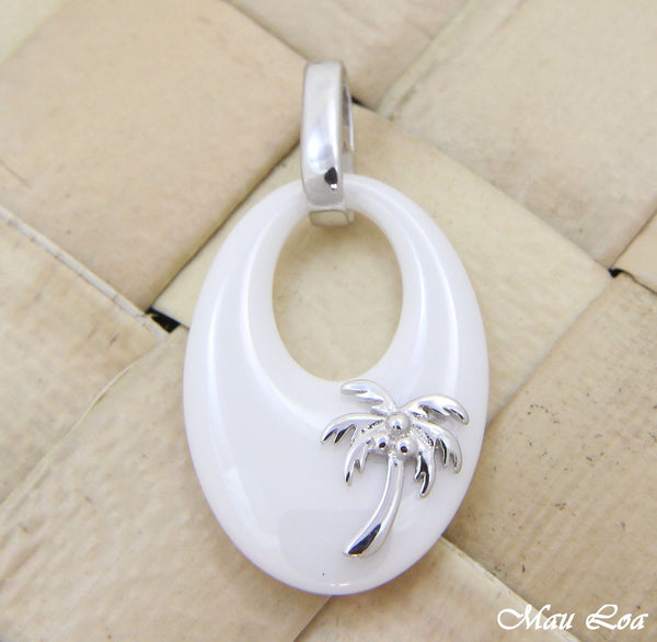 925 Silver Rhodium Hawaiian Coconut Palm Tree White Ceramic Oval Pendant