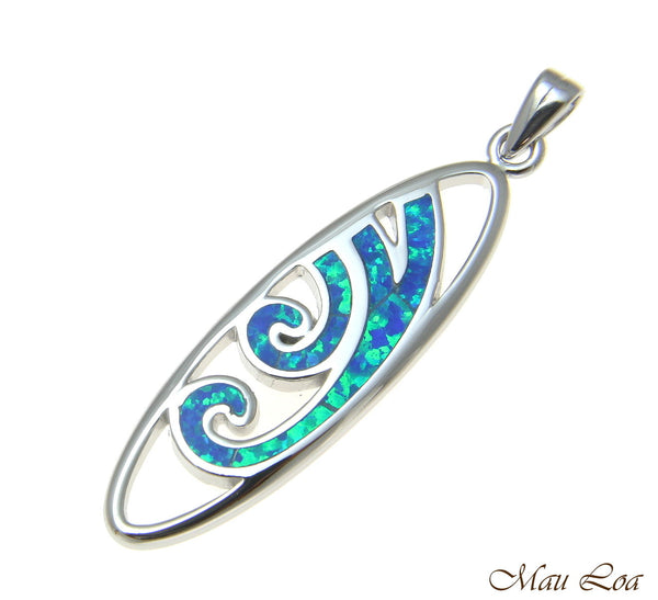 925 Sterling Silver Rhodium Hawaiian Blue Opal Ocean Wave Surfboard Pendant