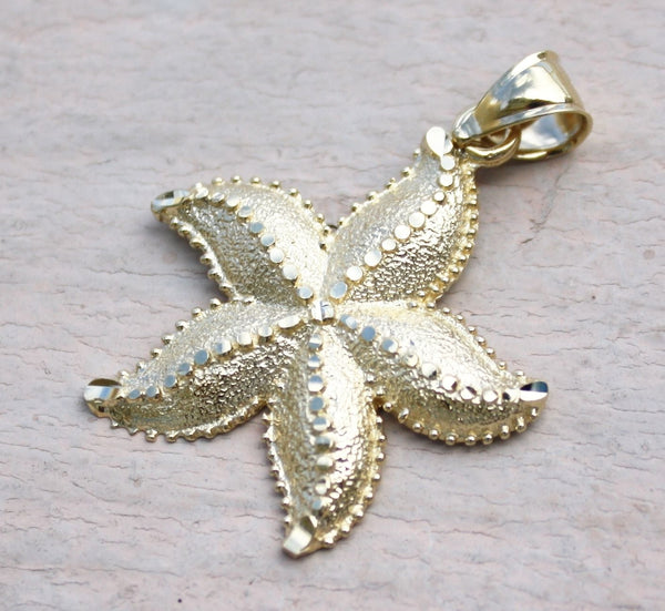 14K Yellow Gold Hawaiian Jewelry Sea life Star Fish 30mm Diamond Cut Pendant
