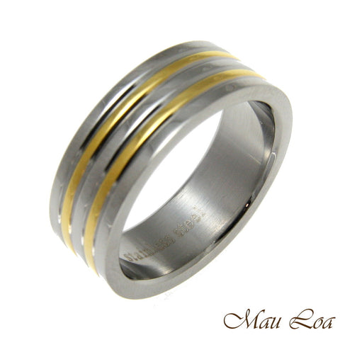 Stainless Steel Ring Wedding Band 7mm Yellow Gold Line Silver Color Size 5-11
