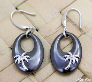925 Sterling Silver Rhodium Hawaiian Palm Tree Black Ceramic Oval Hook Earrings