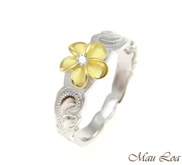 925 Sterling Silver Rhodium Hawaiian Scroll Yellow Gold CZ Plumeria Flower Ring
