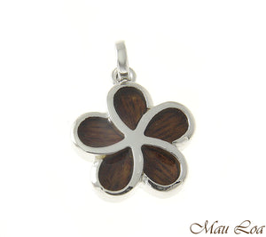 Koa Wood Hawaiian 18mm Plumeria Flower Rhodium Silver Plated Brass Slide Pendant