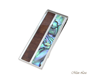 Stainless Steel Hawaiian Koa Wood Abalone Shell 20mm Money Clip Cash Holder