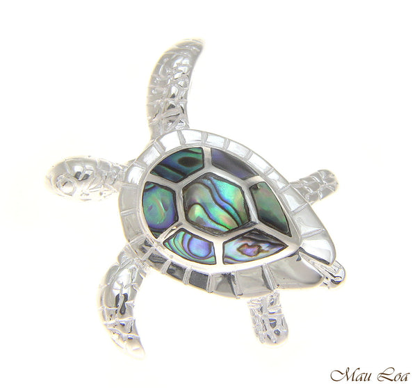 925 Sterling Silver Hawaiian Honu Sea Turtle Abalone Paua Shell Slider Pendant