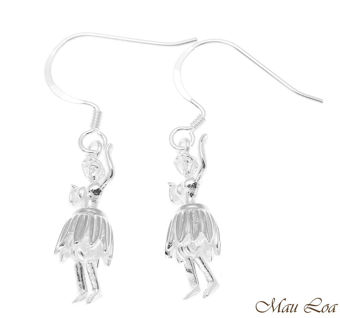 925 Sterling Silver Hawaiian Hula Girl Dancer Movable Skirt Hook Wire Earrings