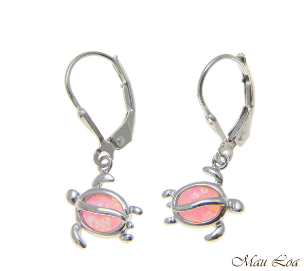 925 Sterling Silver Rhodium Hawaiian Honu Turtle Pink Opal Leverback Earrings