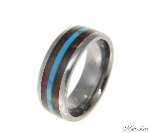 Tungsten 8mm Wedding Band Ring Turquoise Hawaiian Koa Wood Comfort Fit Size 6-14