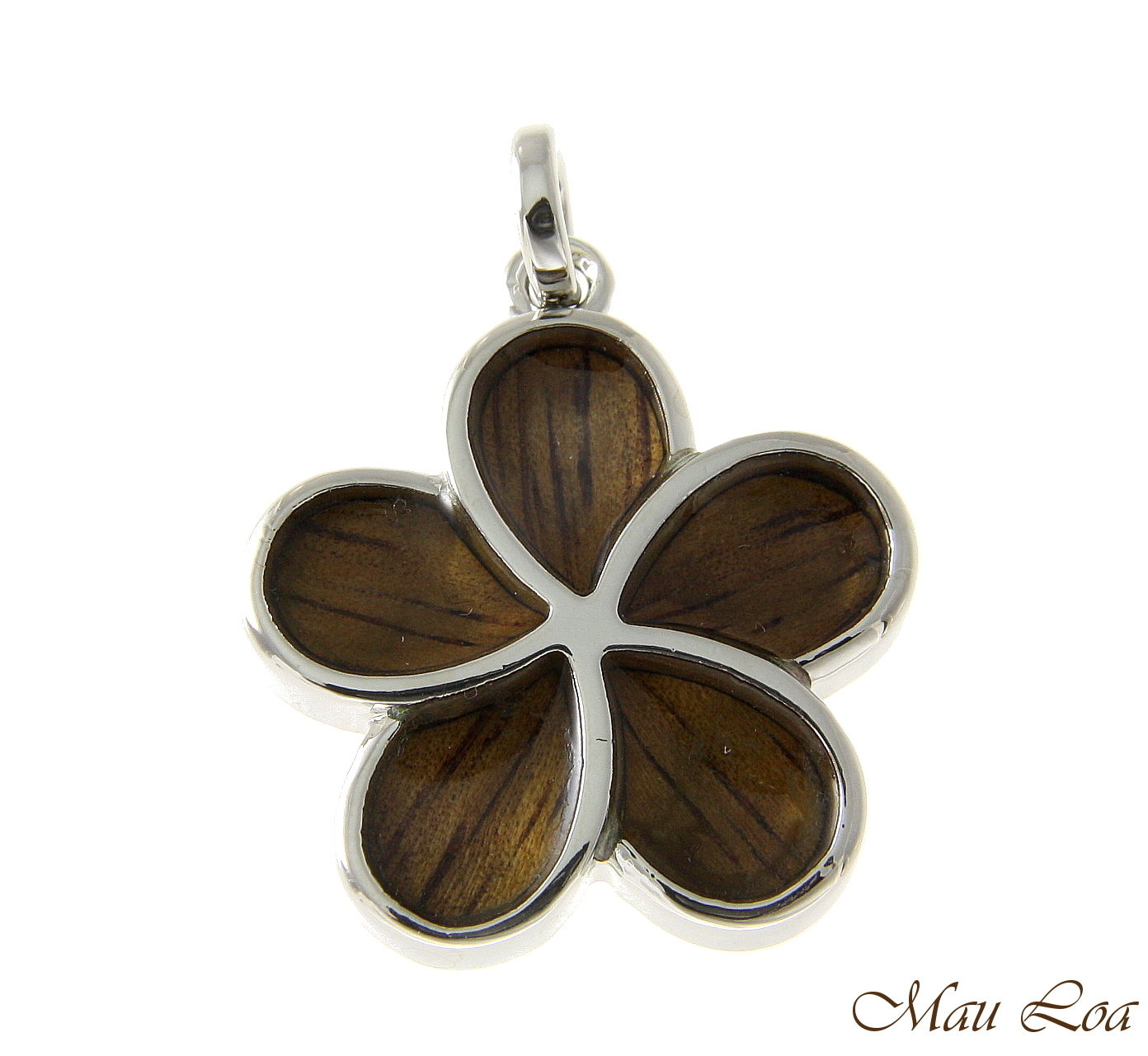 Koa Wood Hawaiian 24mm Plumeria Flower Rhodium Silver Plated Brass Slide Pendant