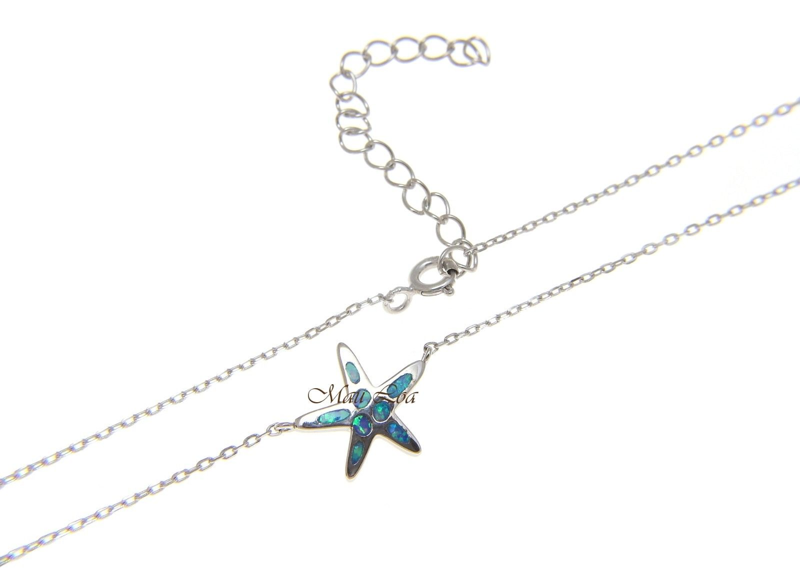 "925 Silver Hawaiian Starfish Sea Star Blue Opal Necklace Chain Included 18""+2"""