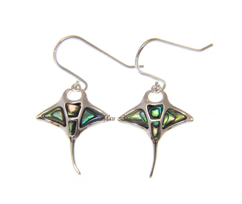 925 Sterling Silver Hawaiian Manta Ray Abalone Shell Paua Hook Wire Earrings