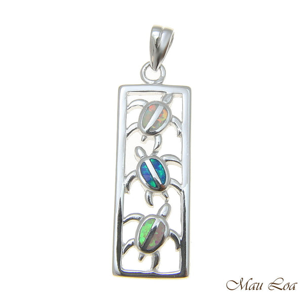 925 Sterling Silver Rhodium Hawaiian Multi Opal Vertical Honu Sea Turtle Pendant