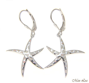 925 Silver Rhodium Hawaiian Starfish Sea Star White Opal Leverback Earrings