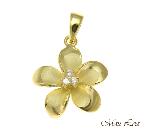 925 Sterling Silver Yellow Gold Hawaiian Plumeria Flower 3 CZ Pendant 12-30mm