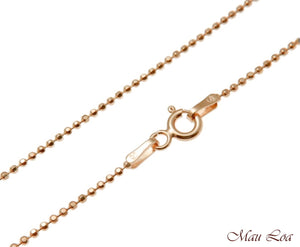 "Sterling Silver 925 Pink Rose Gold Italian 1.2mm Ball Bead Chain 16"" 18"" 20"""