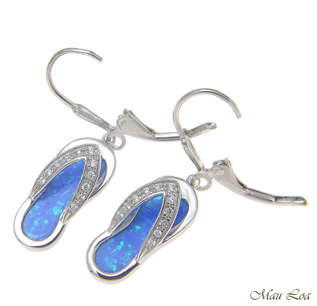 2e0b622fd7d 925 Sterling Silver Rhodium Hawaiian CZ Slipper Blue Opal Leverback Earrings