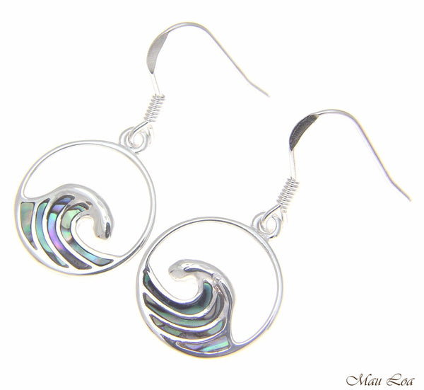 925 Sterling Silver Hawaiian Ocean Wave Circle Abalone Shell Paua Hook Earrings