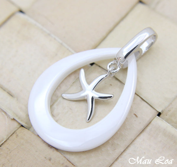 925 Silver Rhodium Hawaiian Starfish Sea Star White Ceramic Tear Drop Pendant