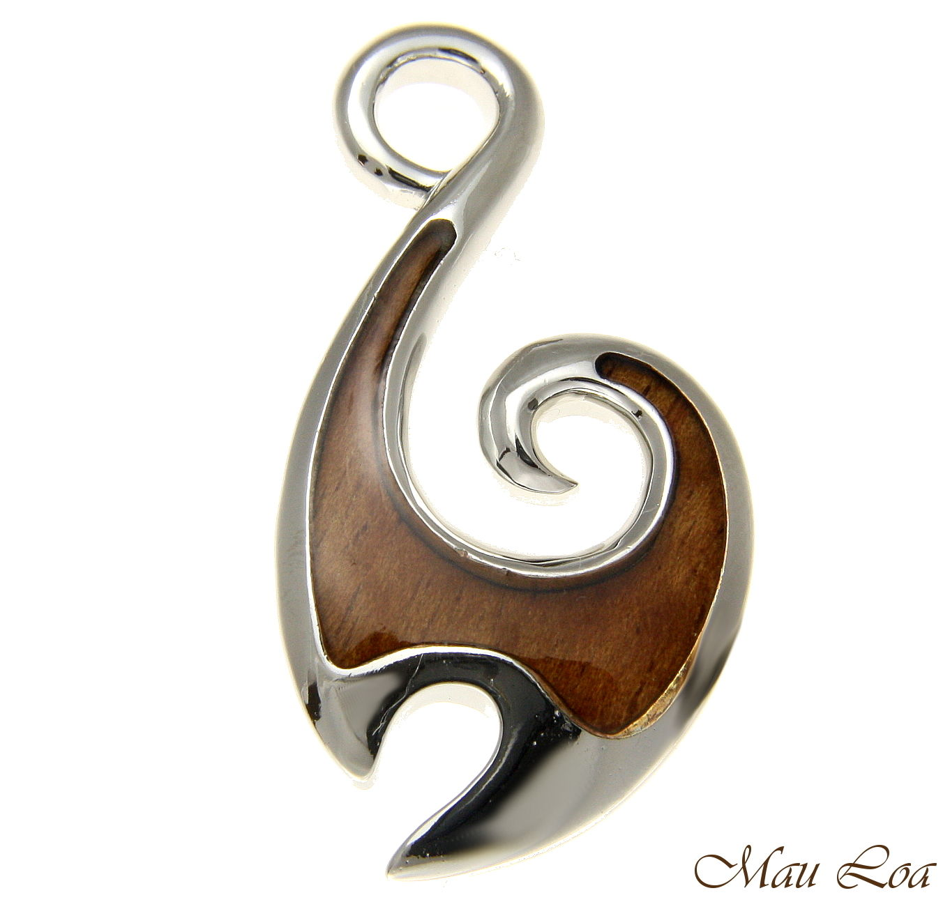 Koa Wood Hawaiian Ocean Wave Fish Hook Rhodium Silver Plated Brass Pendant Charm